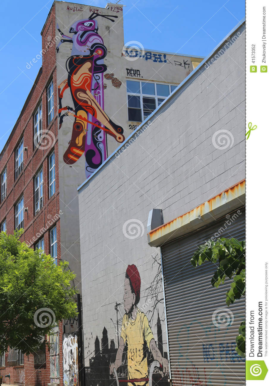 Murals In Williamsburg Section In Brooklyn Editorial