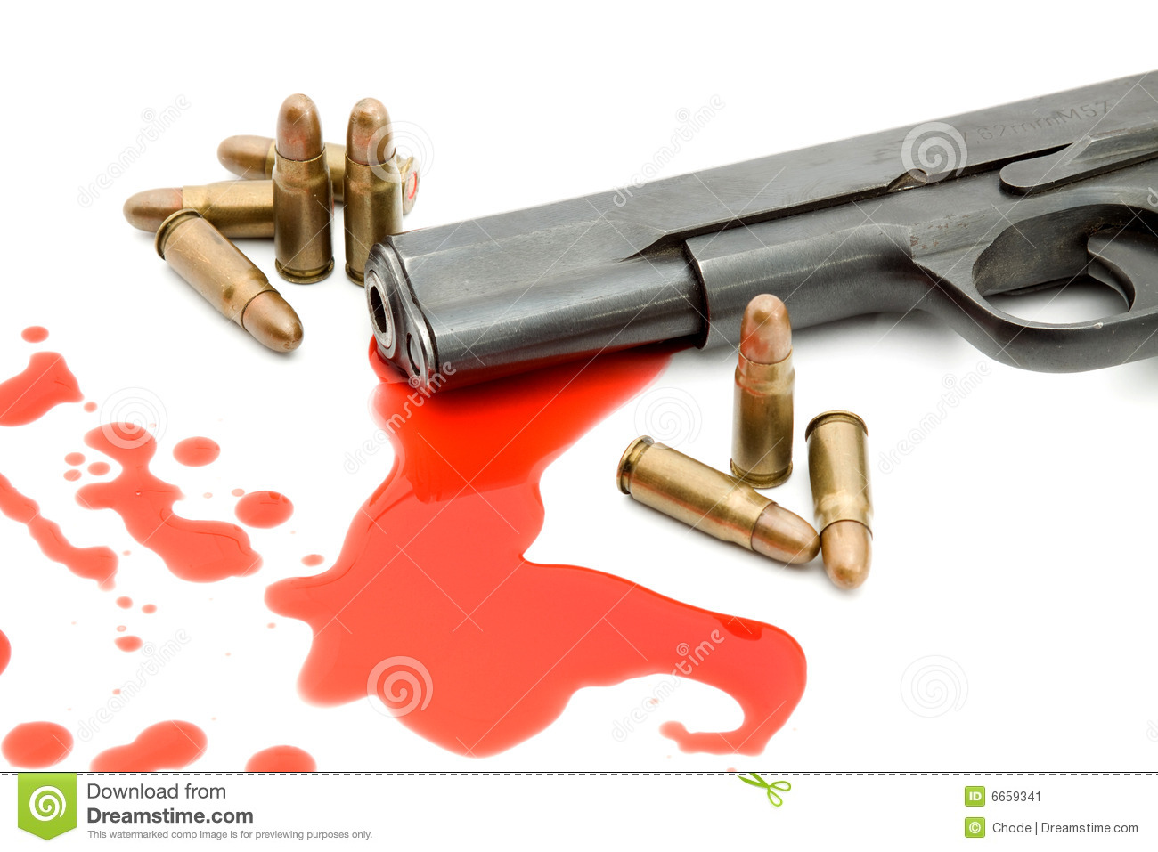 Murder Concept - Gun And Blood Stock Image - Image: 6659341