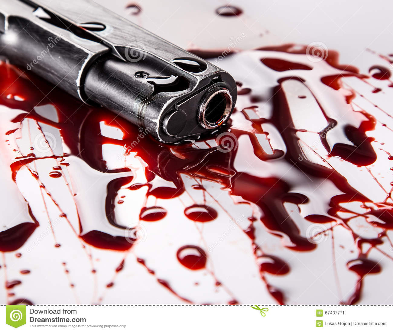 Murder Concept - Gun With Blood On White Background Stock ...