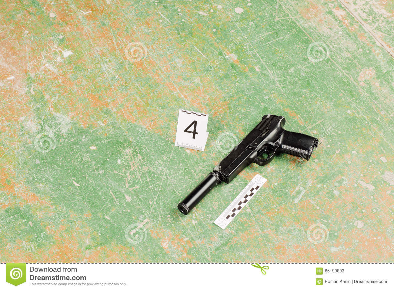 Murder Gun Lying On The Floor Crime Scene Stock Image