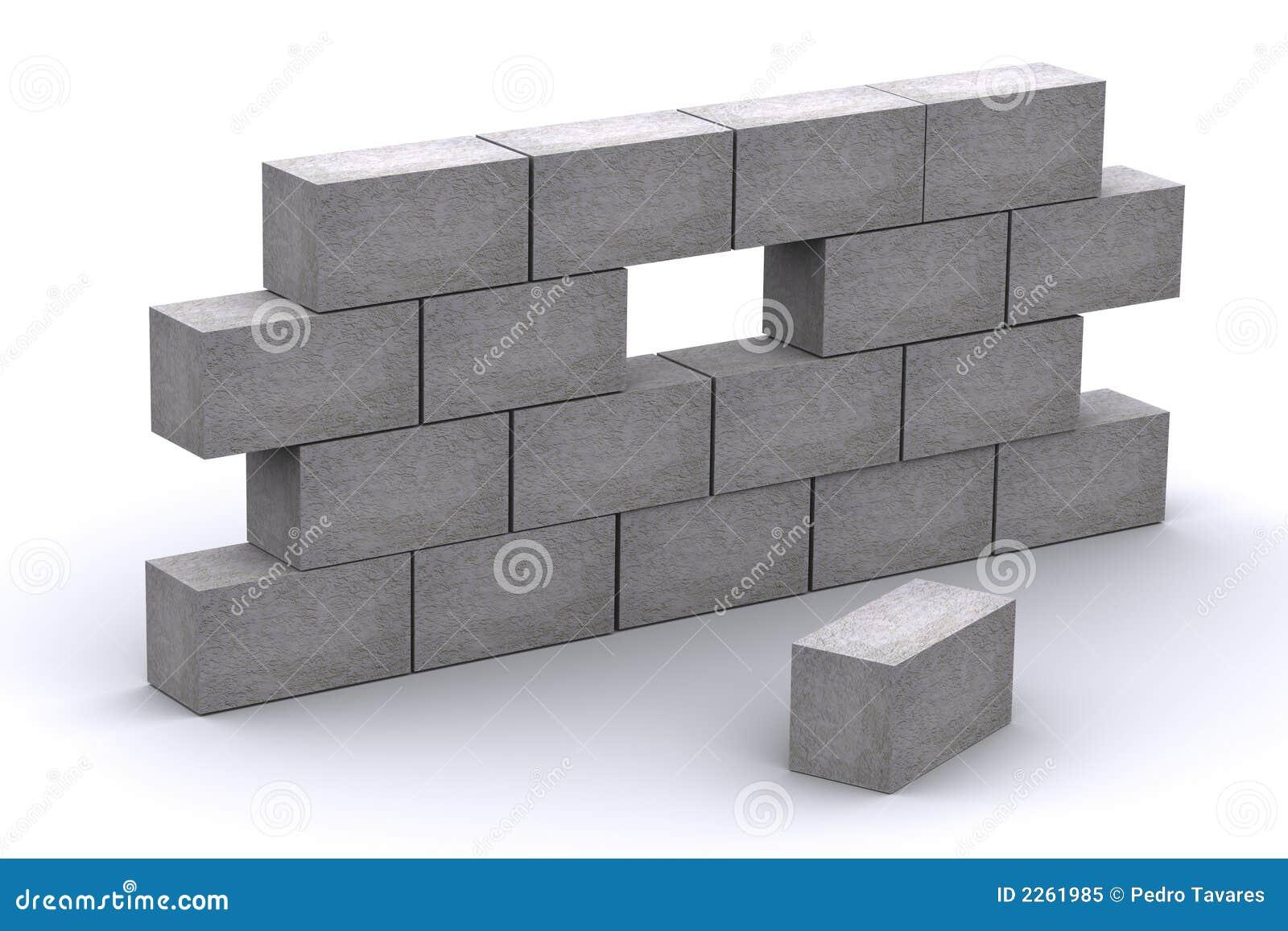 Muro de cemento incompleto 3d