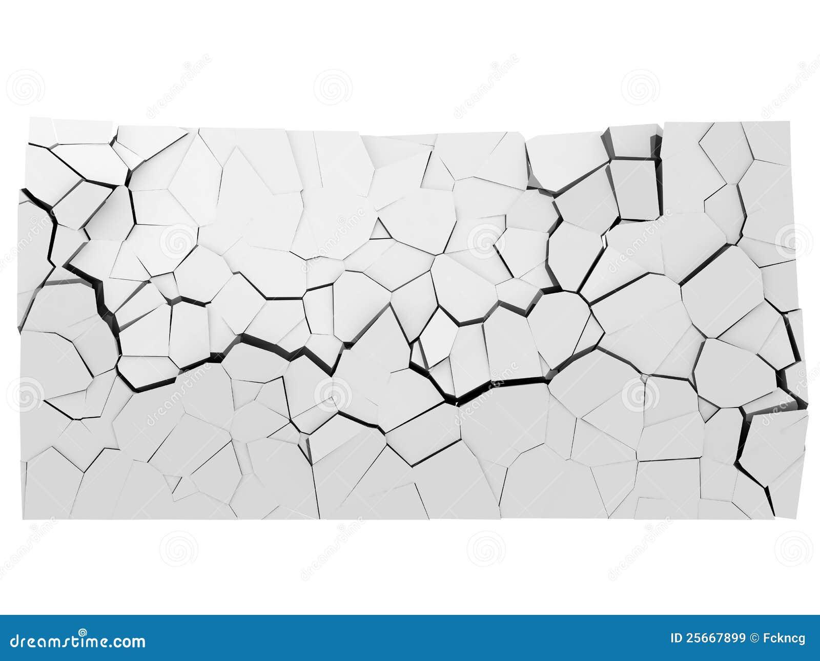 Muro de cimento de desintegração com furo