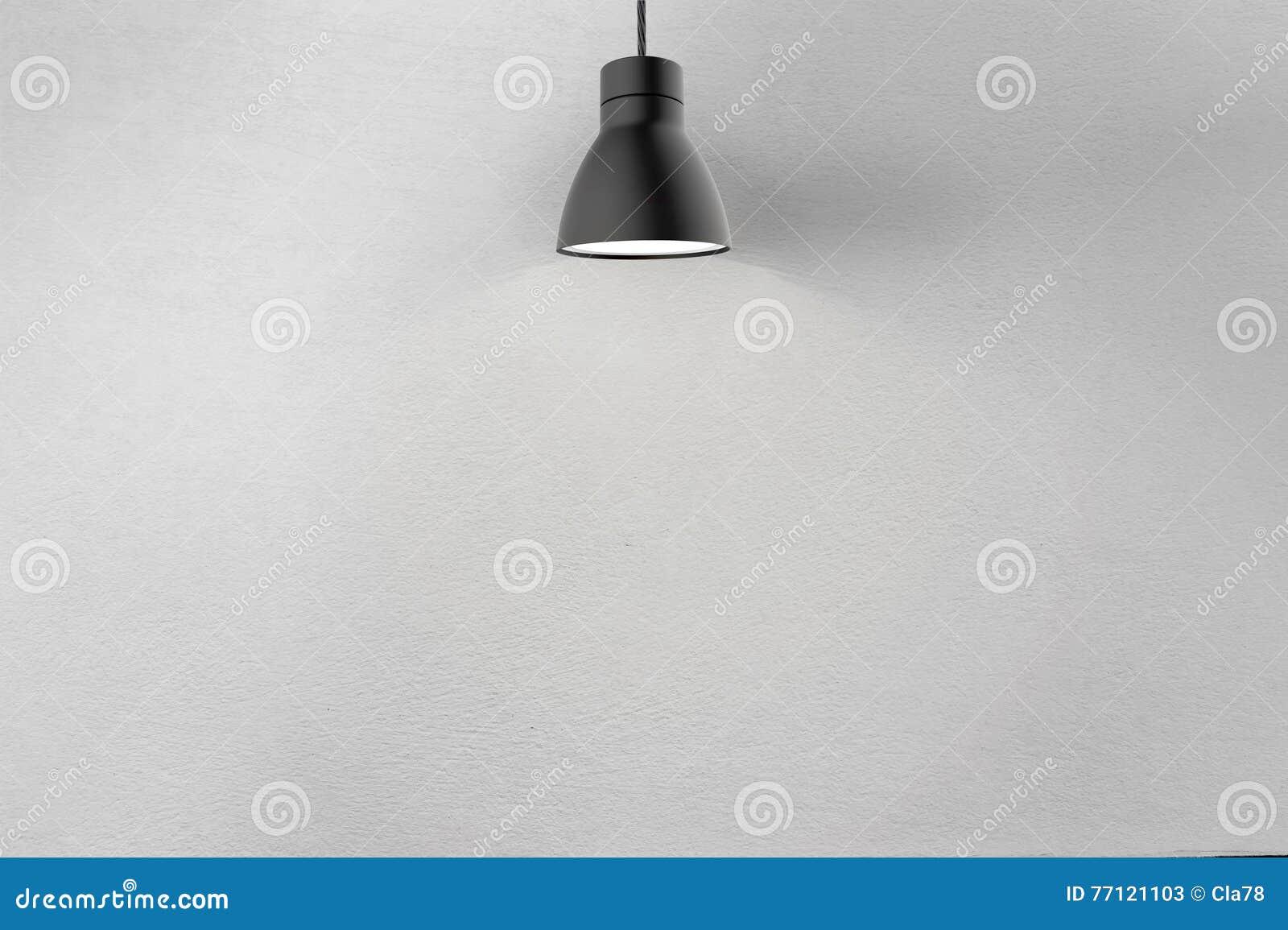 Muro de cimento e lâmpada do teto