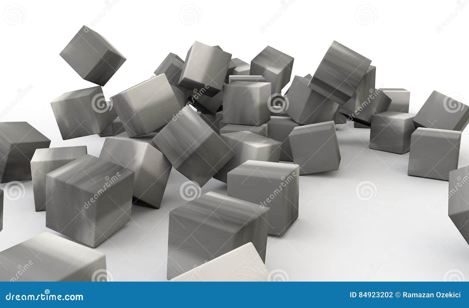 Muro de cimento tridimensional do objeto abstrato