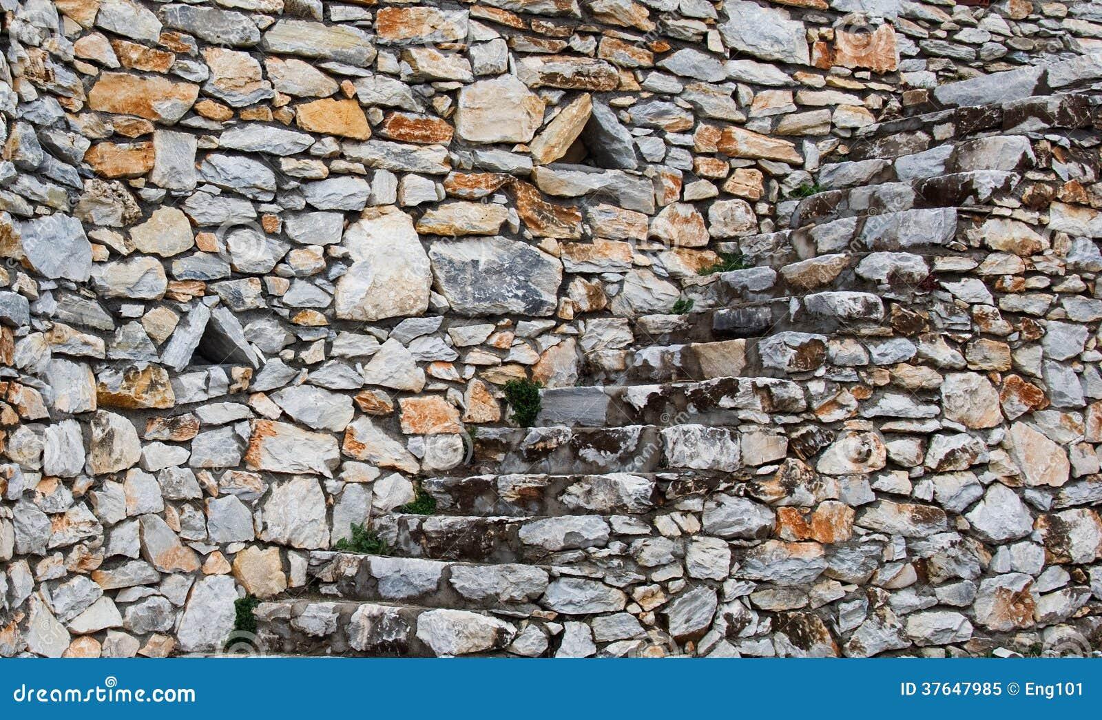 Muro de piedra natural de la escalera y de contenci n foto - Muros de piedra construccion ...