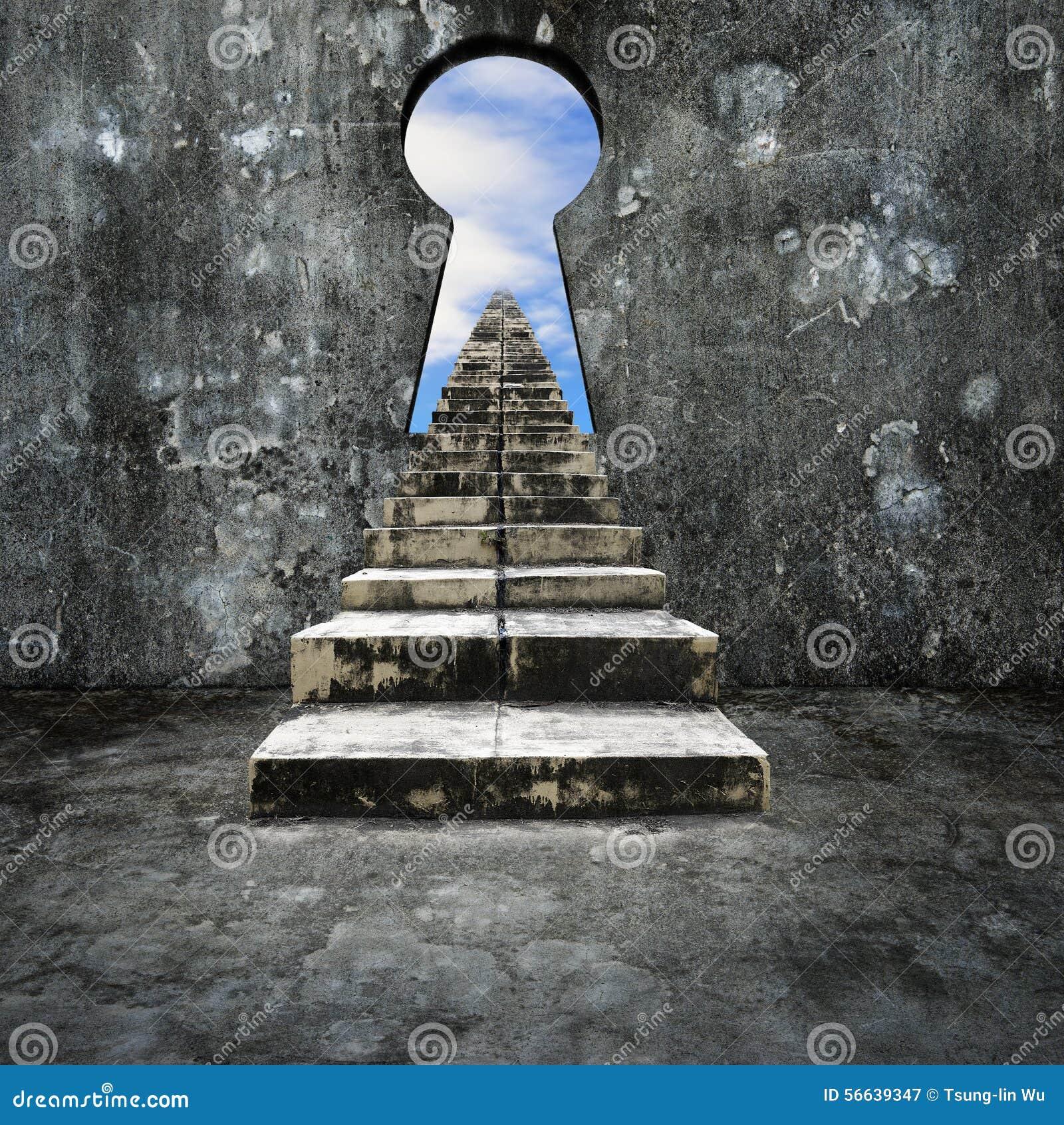 Muro di cemento del buco della serratura con la vista for Scala in cemento armato a vista