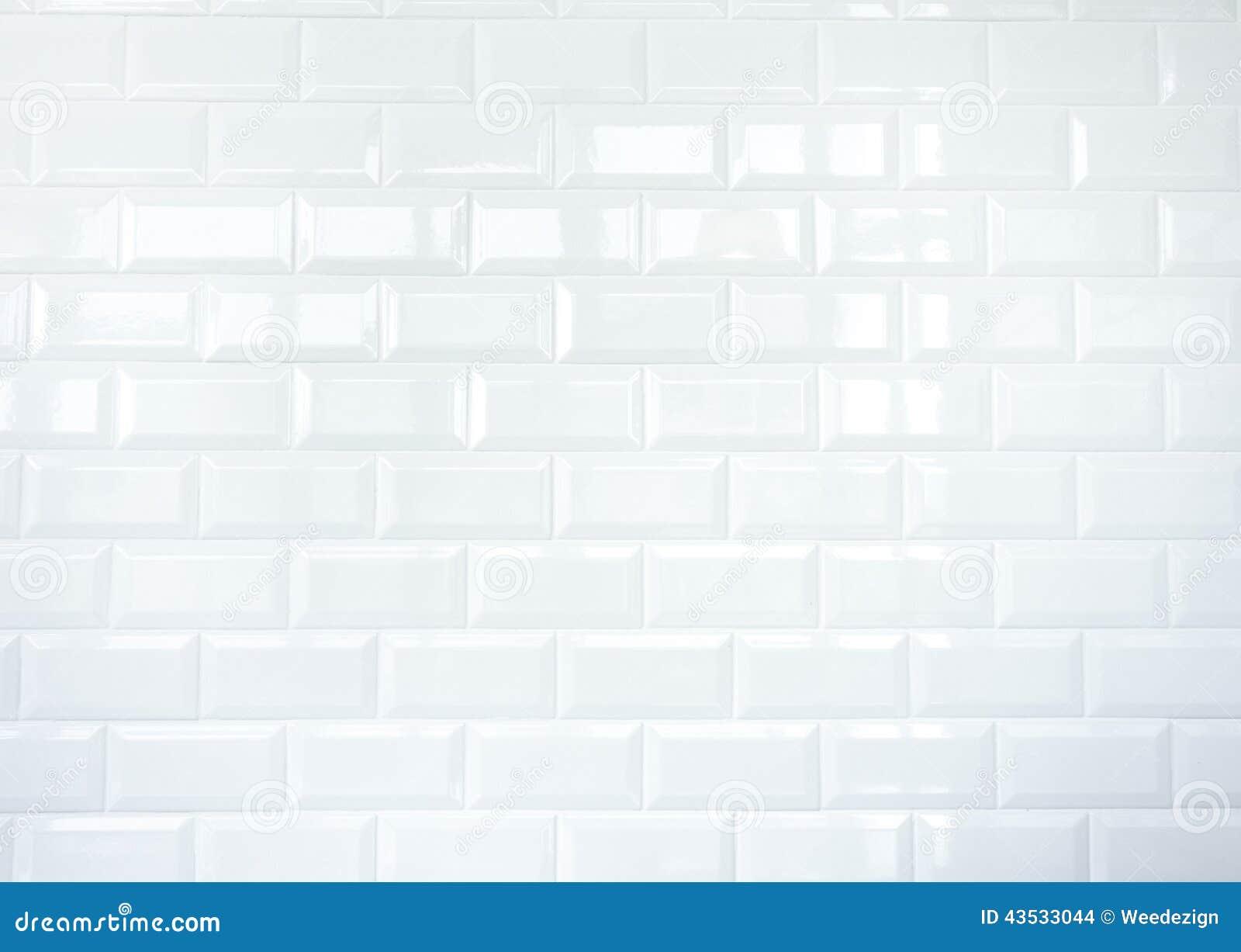 Muro Di Mattoni Bianco Della Piastrella Di Ceramica Fotografia Stock - Immagine: 43533044
