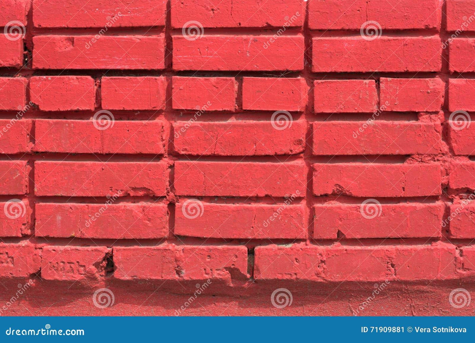 Muro Di Mattoni Colorato Rosso Della Casa Immagine Stock - Immagine di vernice, rosso: 71909881