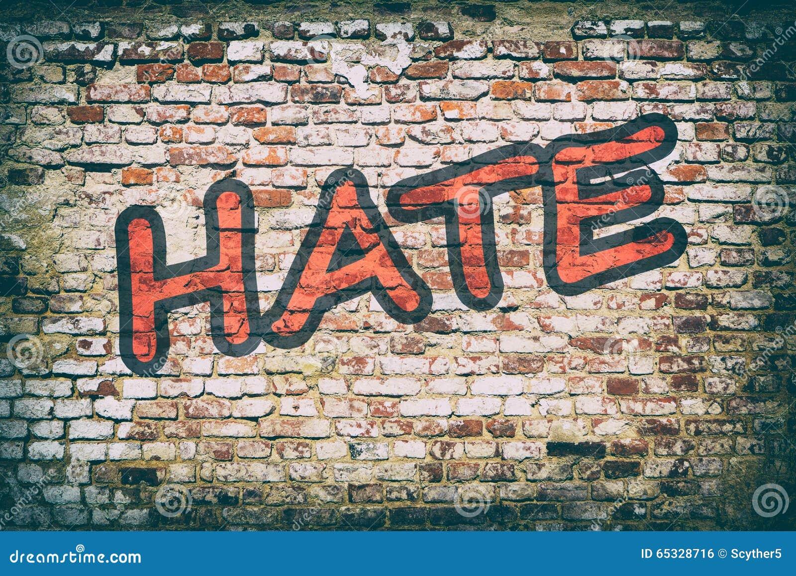 Muro di mattoni con i graffiti di odio di parola