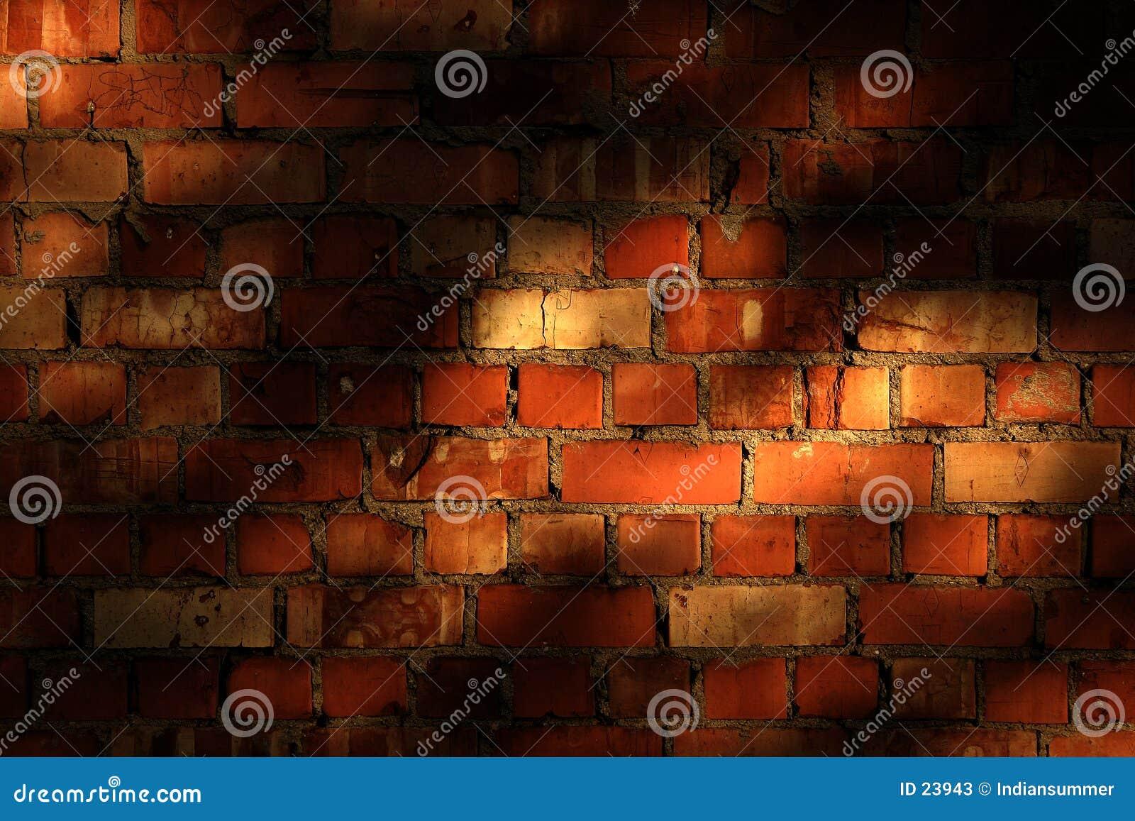 Muro di mattoni con le ombre di sera