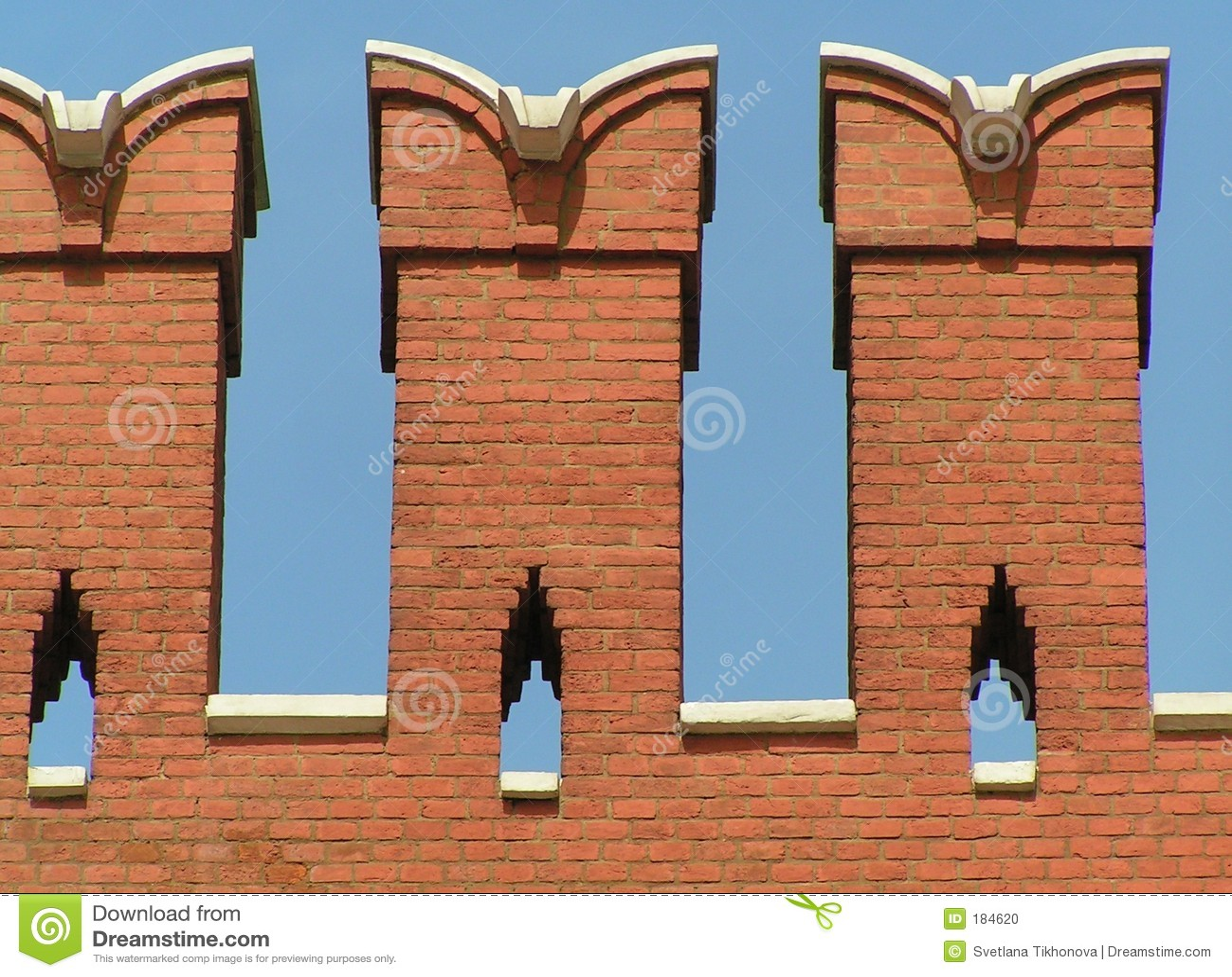 Muro di mattoni di Crenellated