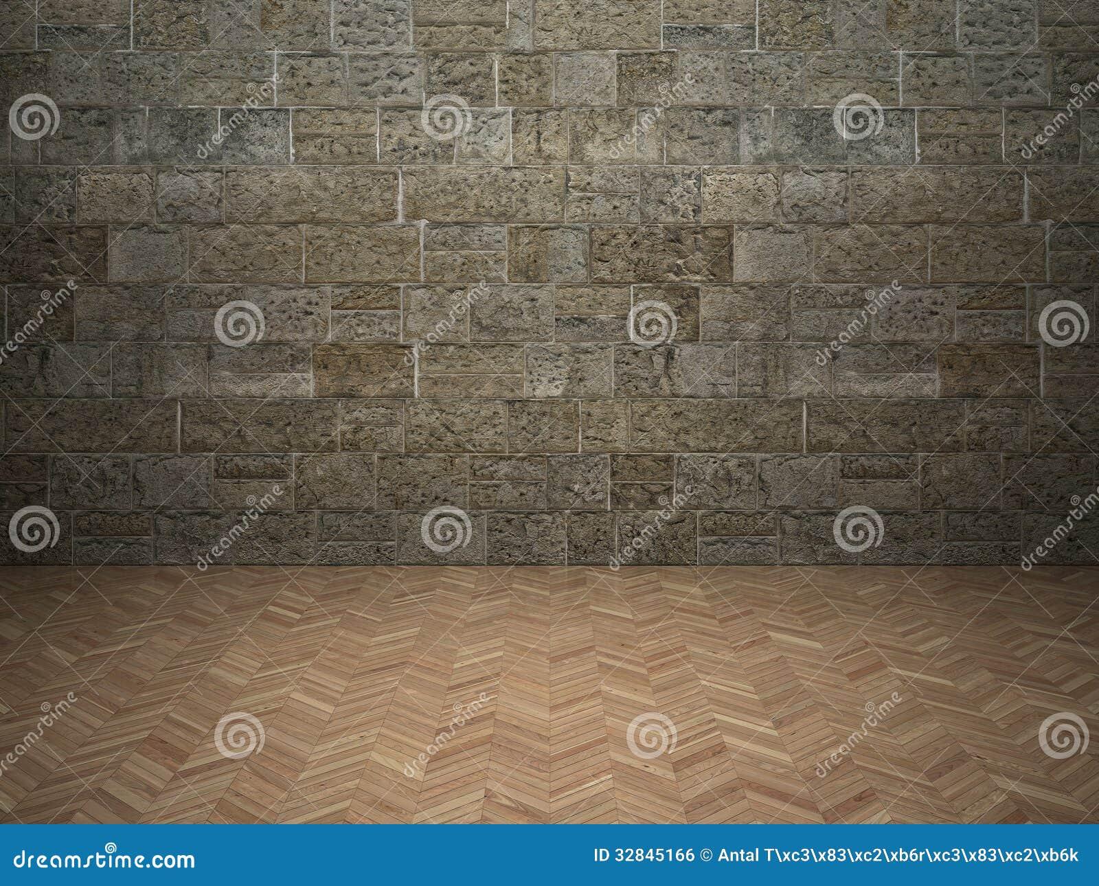 Muro di mattoni e pavimento laminato