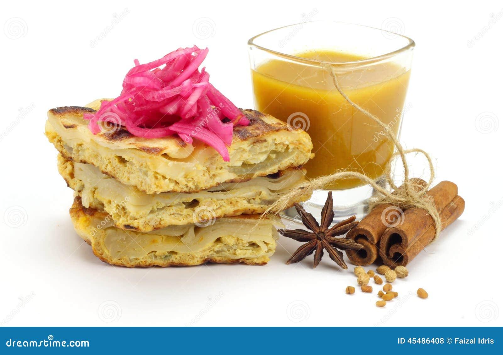 Murtabak用Dhall小汤和葱腌汁
