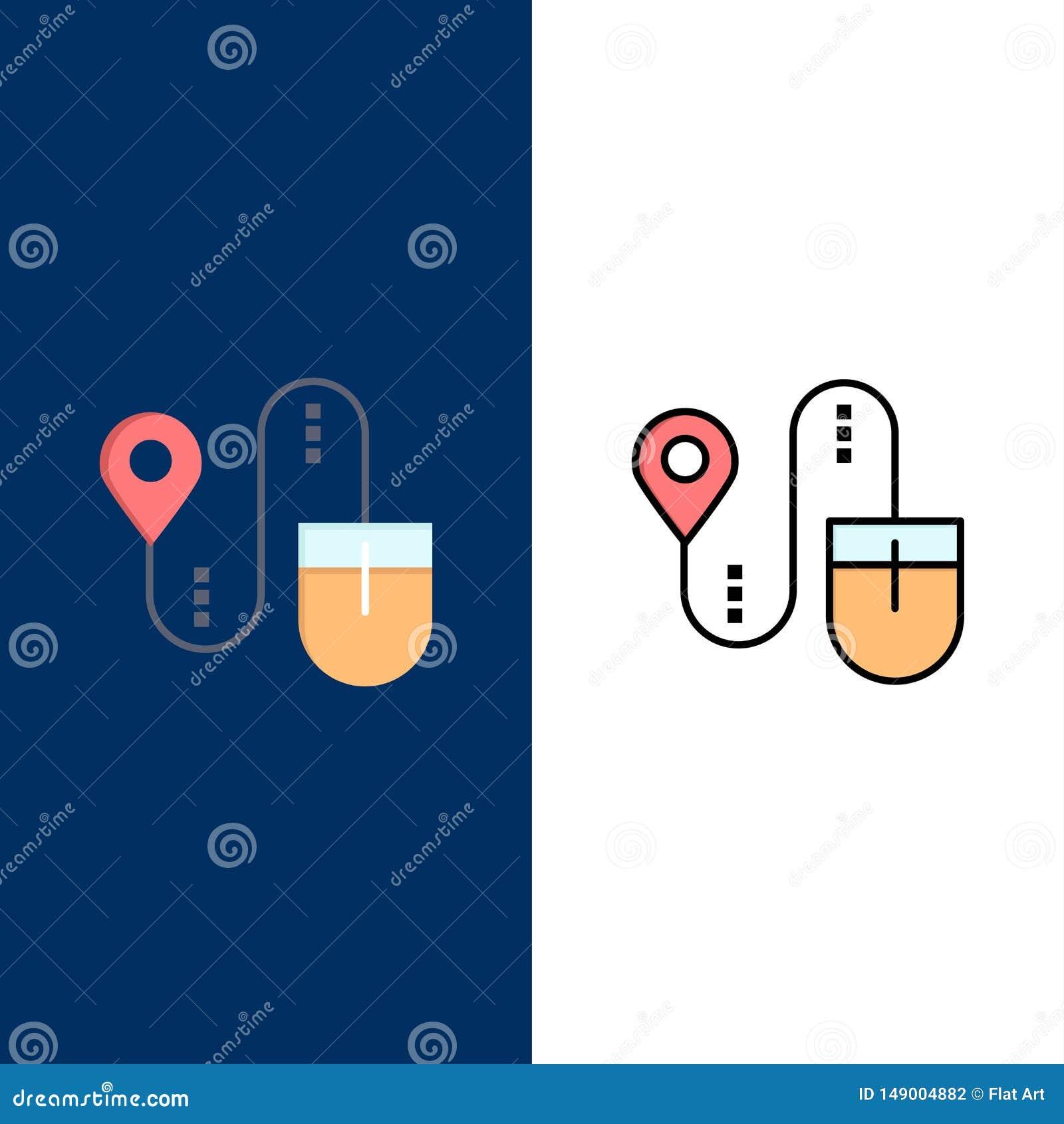 Mus läge, sökande, datorsymboler Lägenheten och linjen fylld symbol ställde in blå bakgrund för vektorn