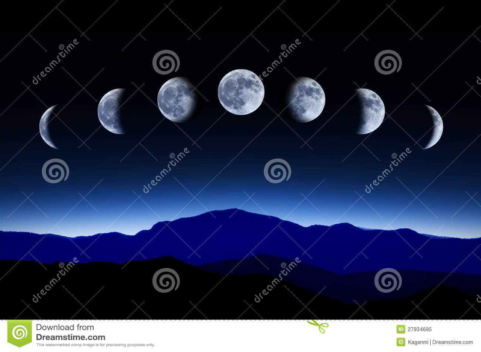 Musardez le cycle lunaire en ciel de nuit, concept de temps-déchéance