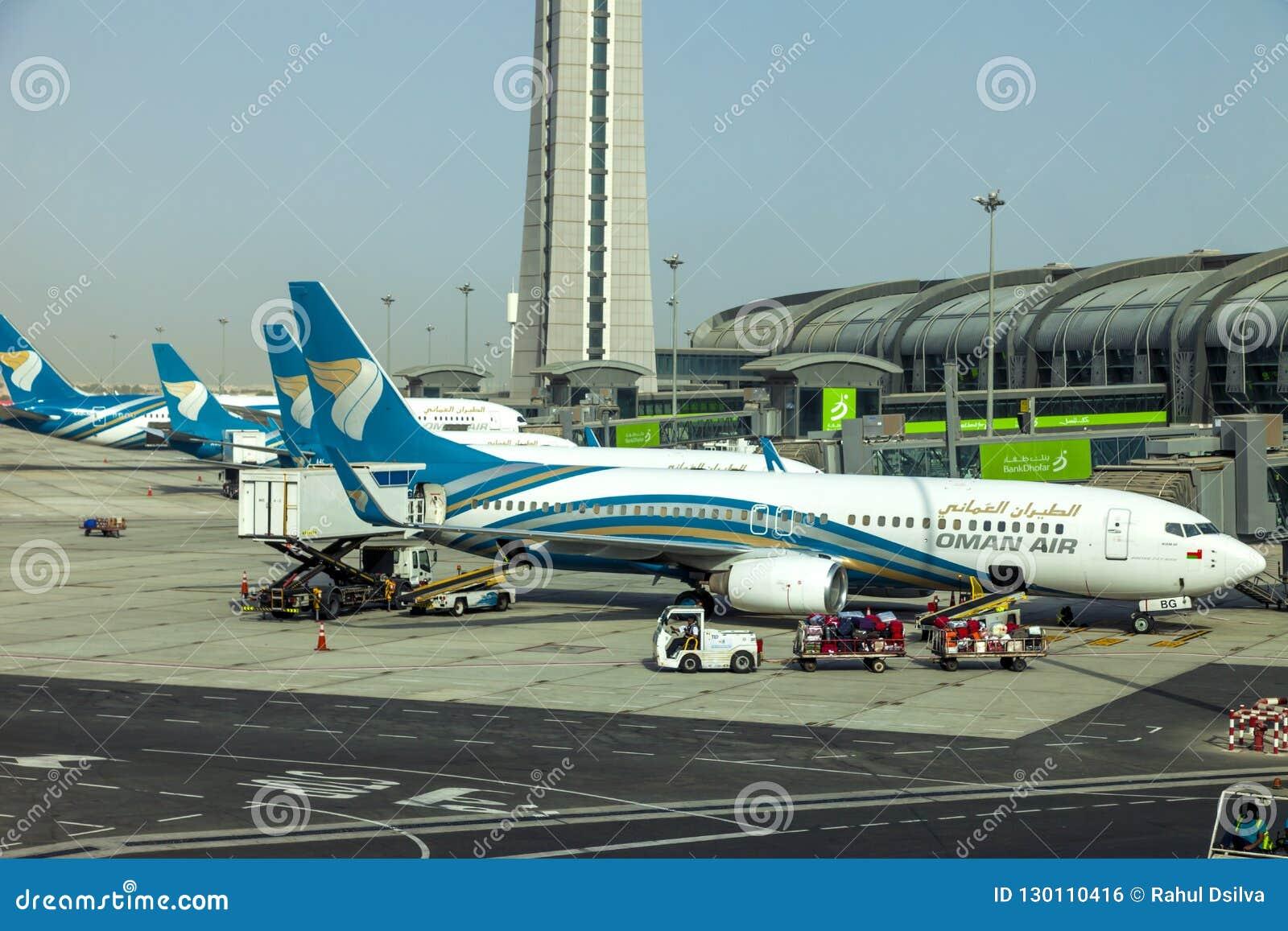Muscateldruif, Oman, beeld gedateerd 31 de Muscateldruif nieuwe luchthaven van September 2018 met de luchtvliegtuigen van Oman