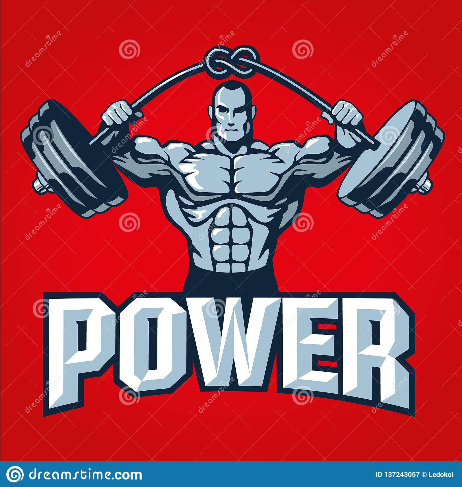 Muscle bodybuilder man lifting heavy barbell with knot. Gym logo template or t shirt print design. Vector illustration