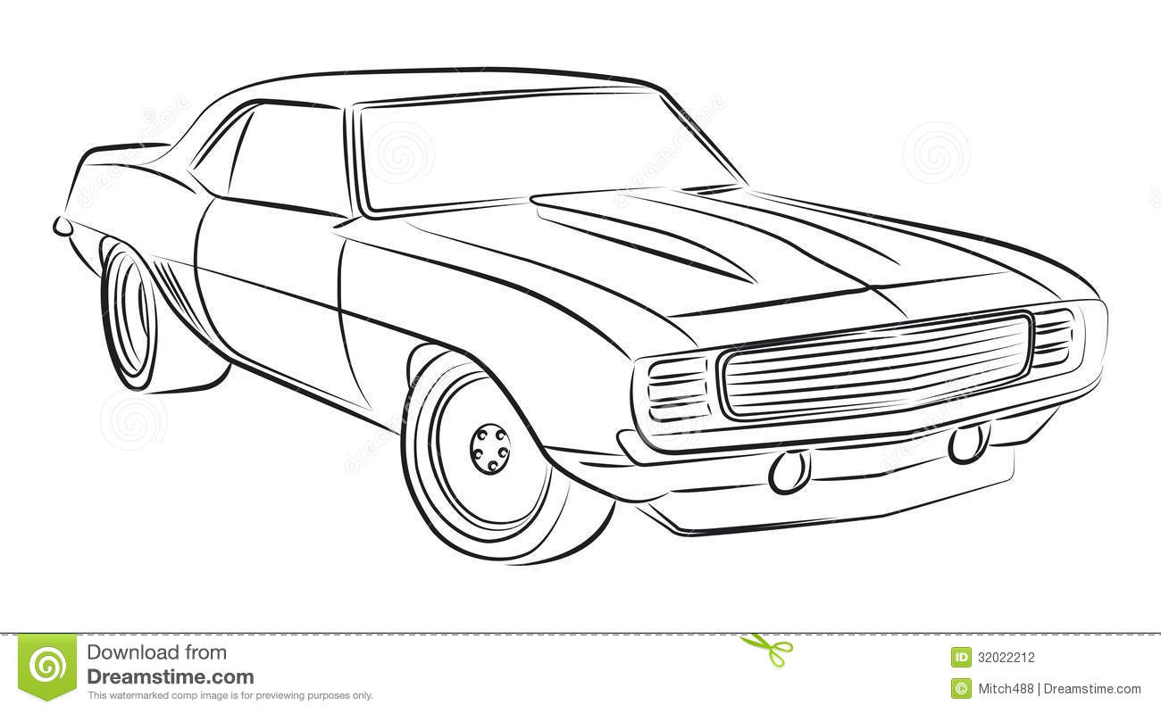 Muscle Car Drawing Stock Photography Image 32022212