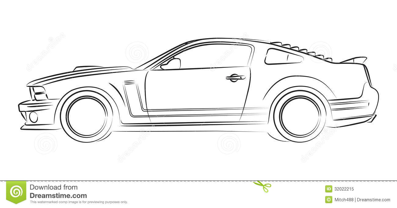 Muscle car drawing stock illustration. Illustration of silhouette ...