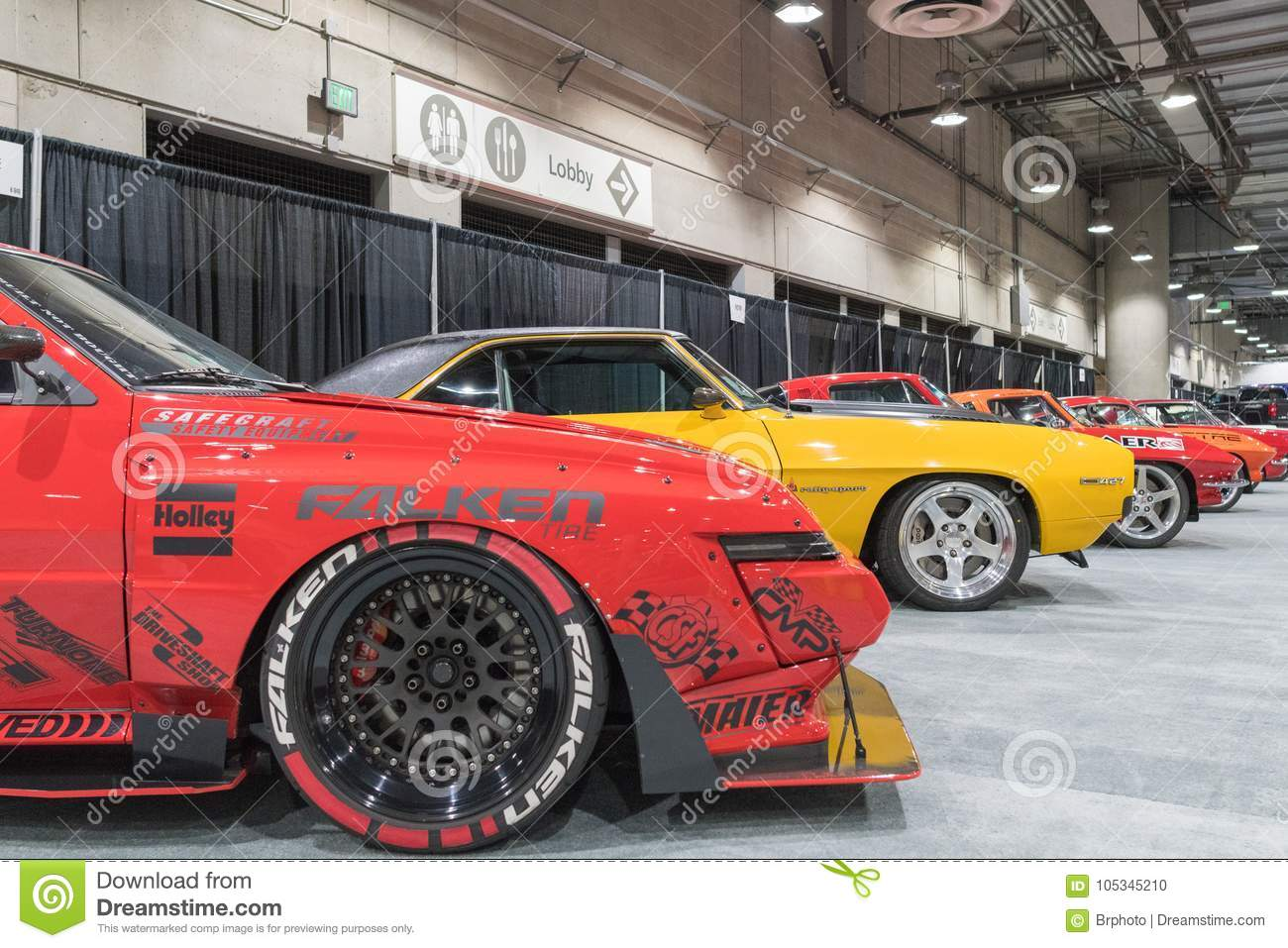 Muscle Car Garage On Display During LA Auto Show Editorial Image - Show car garage