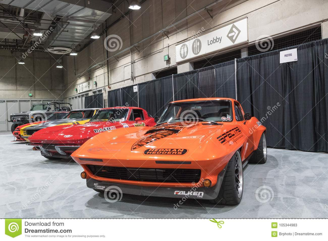 Muscle Car Garage On Display During LA Auto Show Editorial Stock - Show car garage