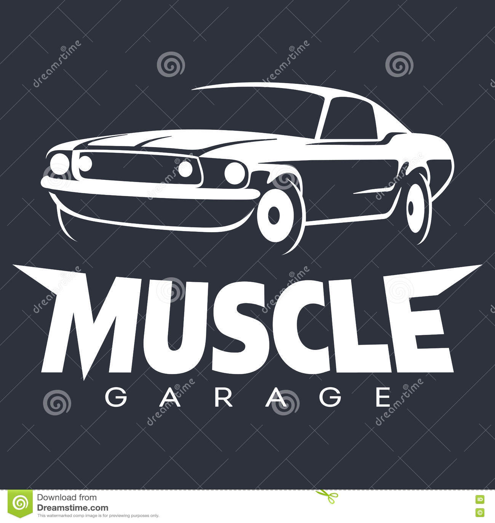 Muscle Car Garage Logo White Stock Vector Illustration Of