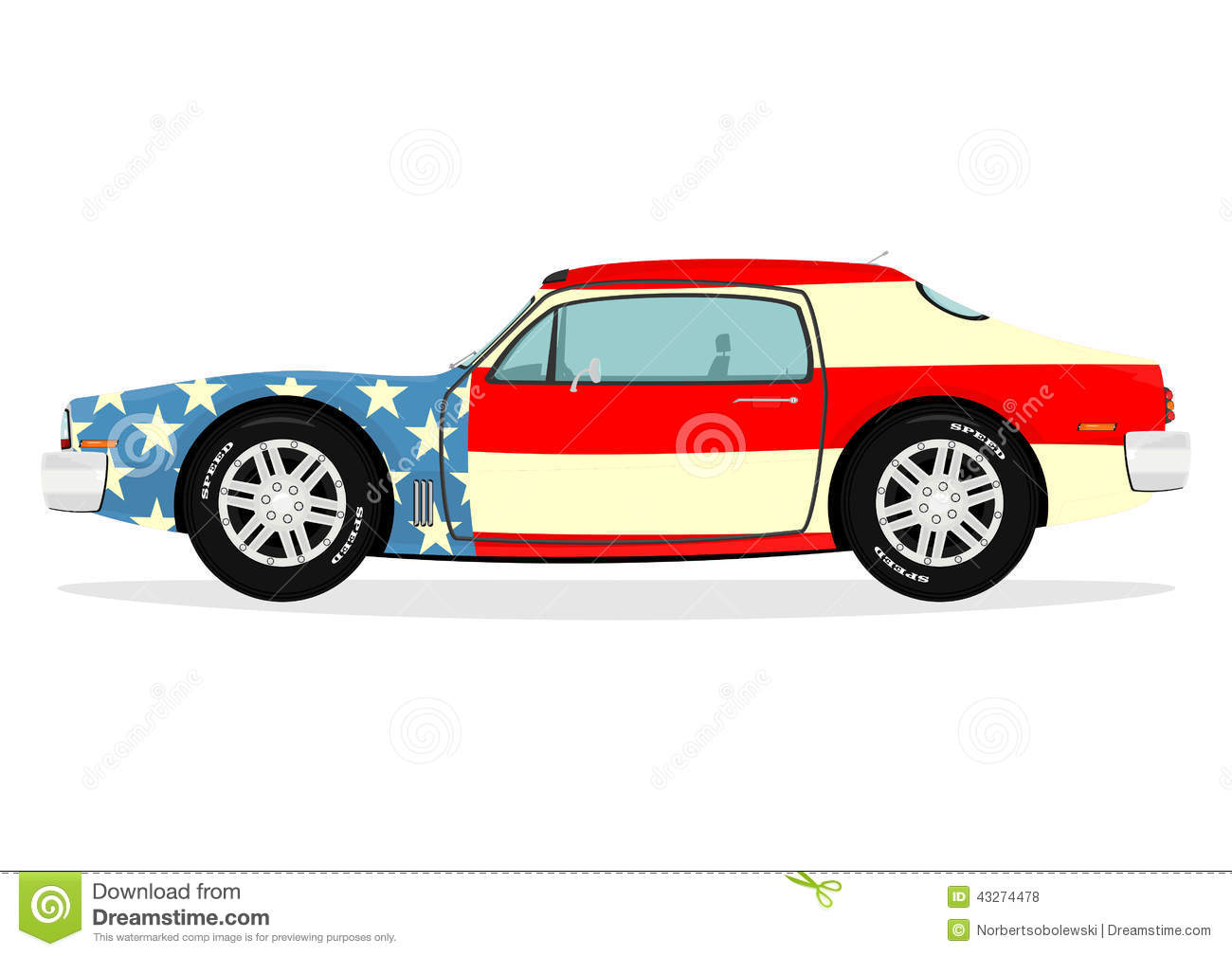 Muscle Car Stock Vector Illustration Of Drag Flag Drive 43274478