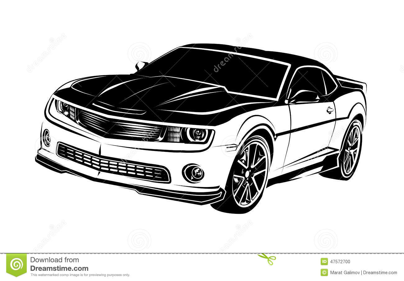 Muscle Car Stock Vector Illustration Of Black Muscle 47572700