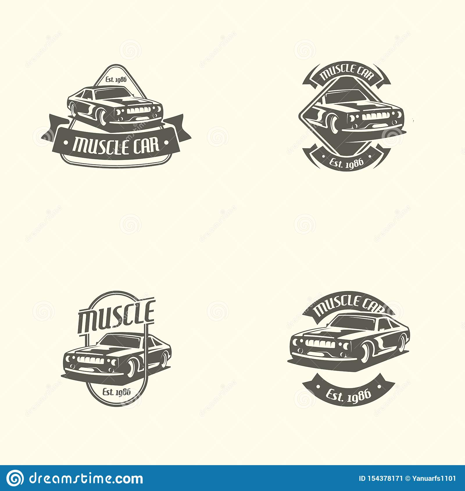 Muscle car logo template in retro style. Retro car logo vector