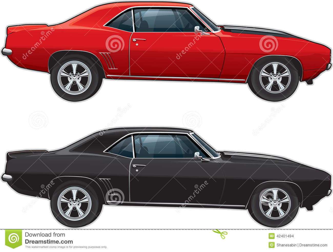 Muscle Car Sideview Stock Illustration Image