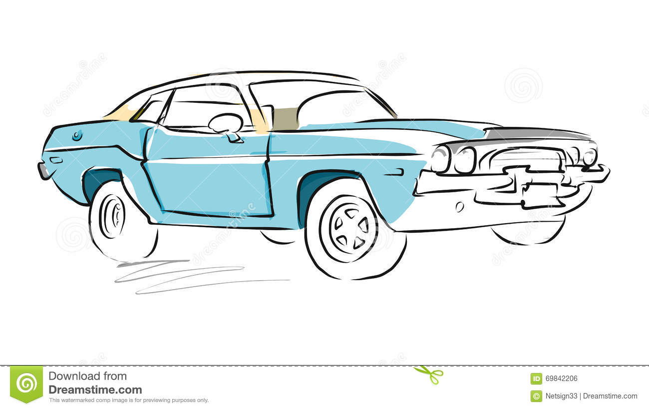 Muscle Car Sketch, Vector Drawing Stock Illustration ...