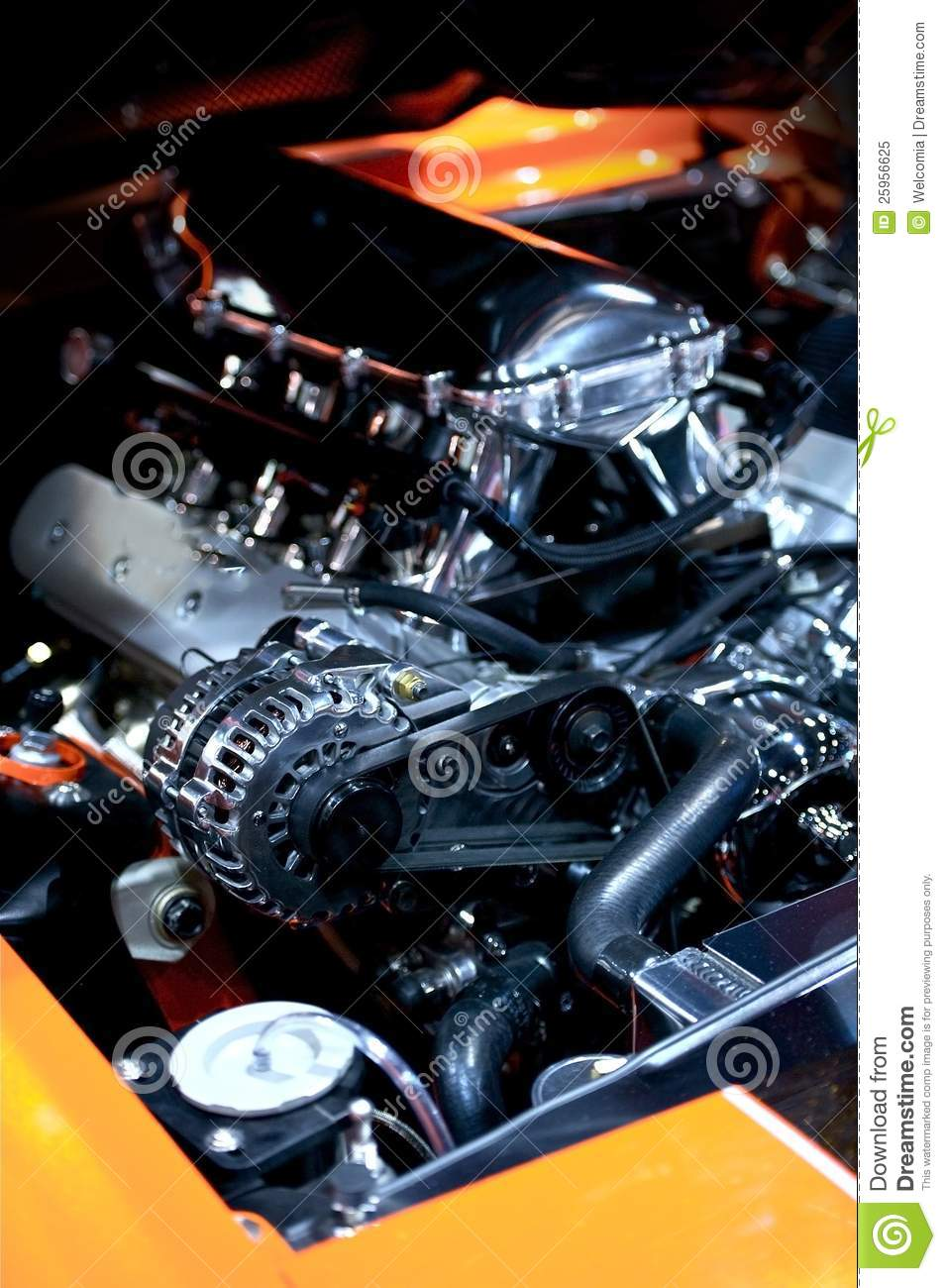 muscle car under the hood royalty free stock photo
