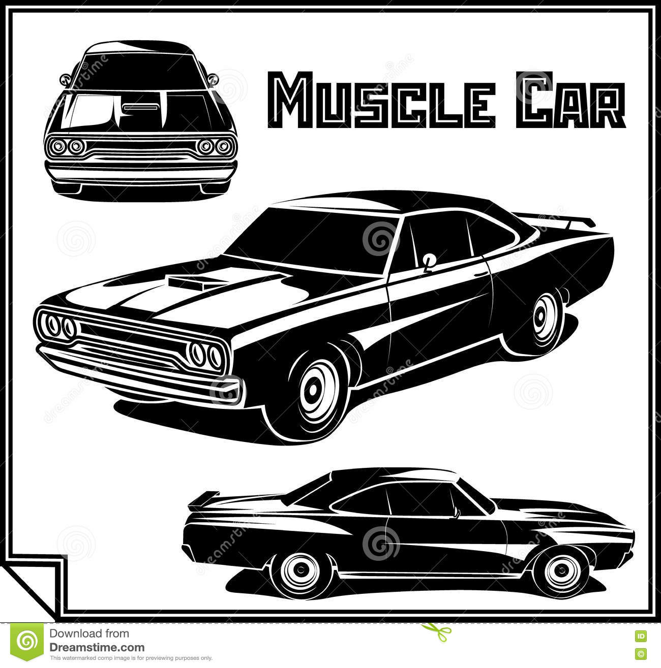 Muscle Car Vector Poster Monochrome Stock Vector Illustration Of