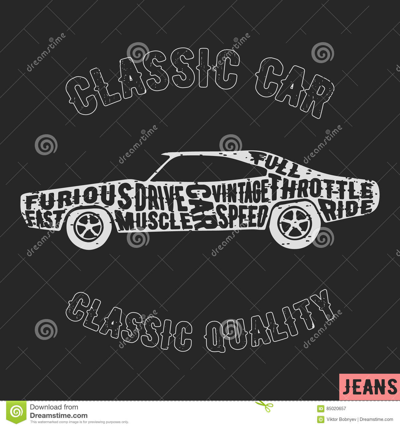 50217c50 T-shirt print design. Muscle car vintage stamp. Printing and badge applique  label t-shirts, jeans, casual wear. Vector illustration.