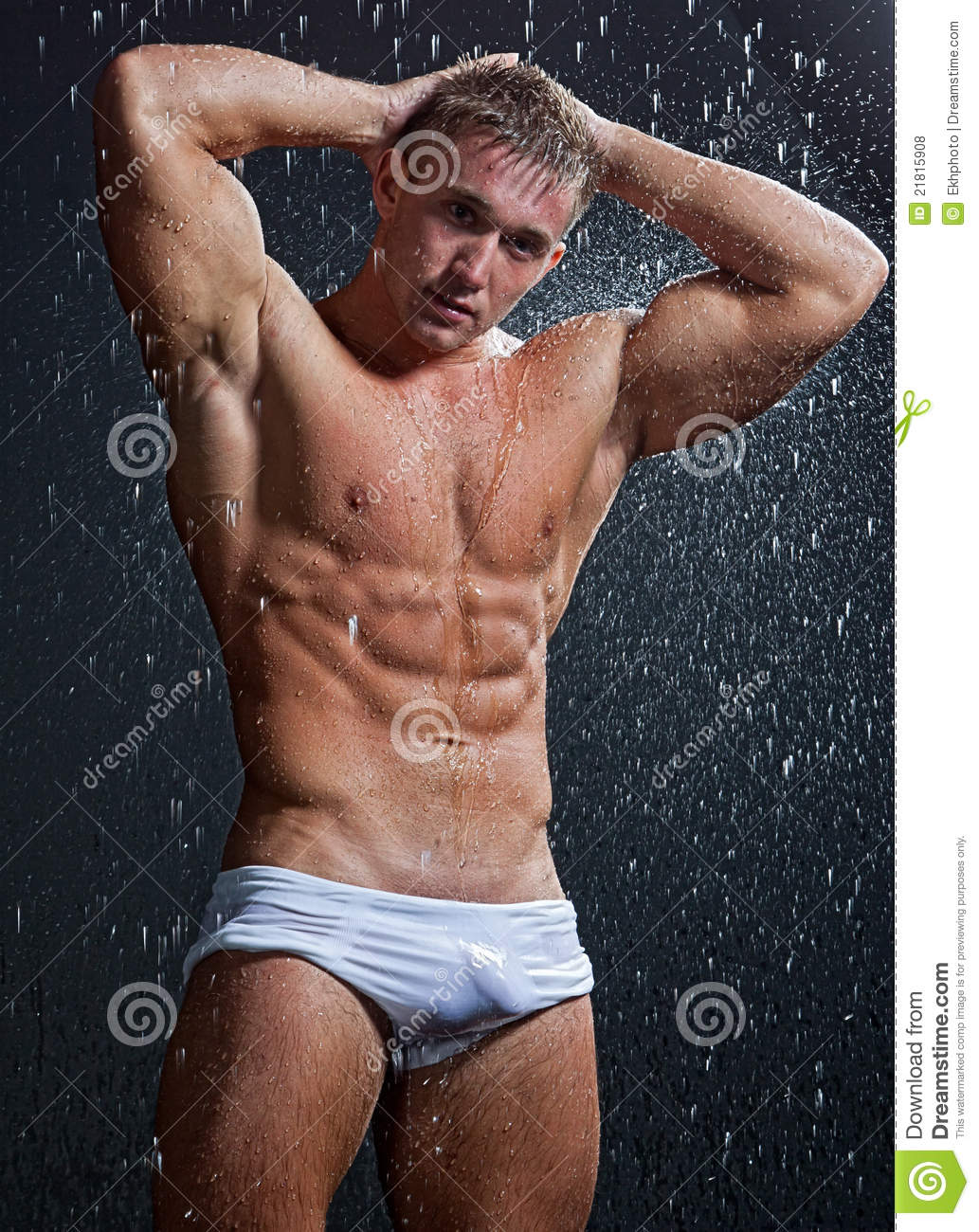 naked guy sexy muscle wet