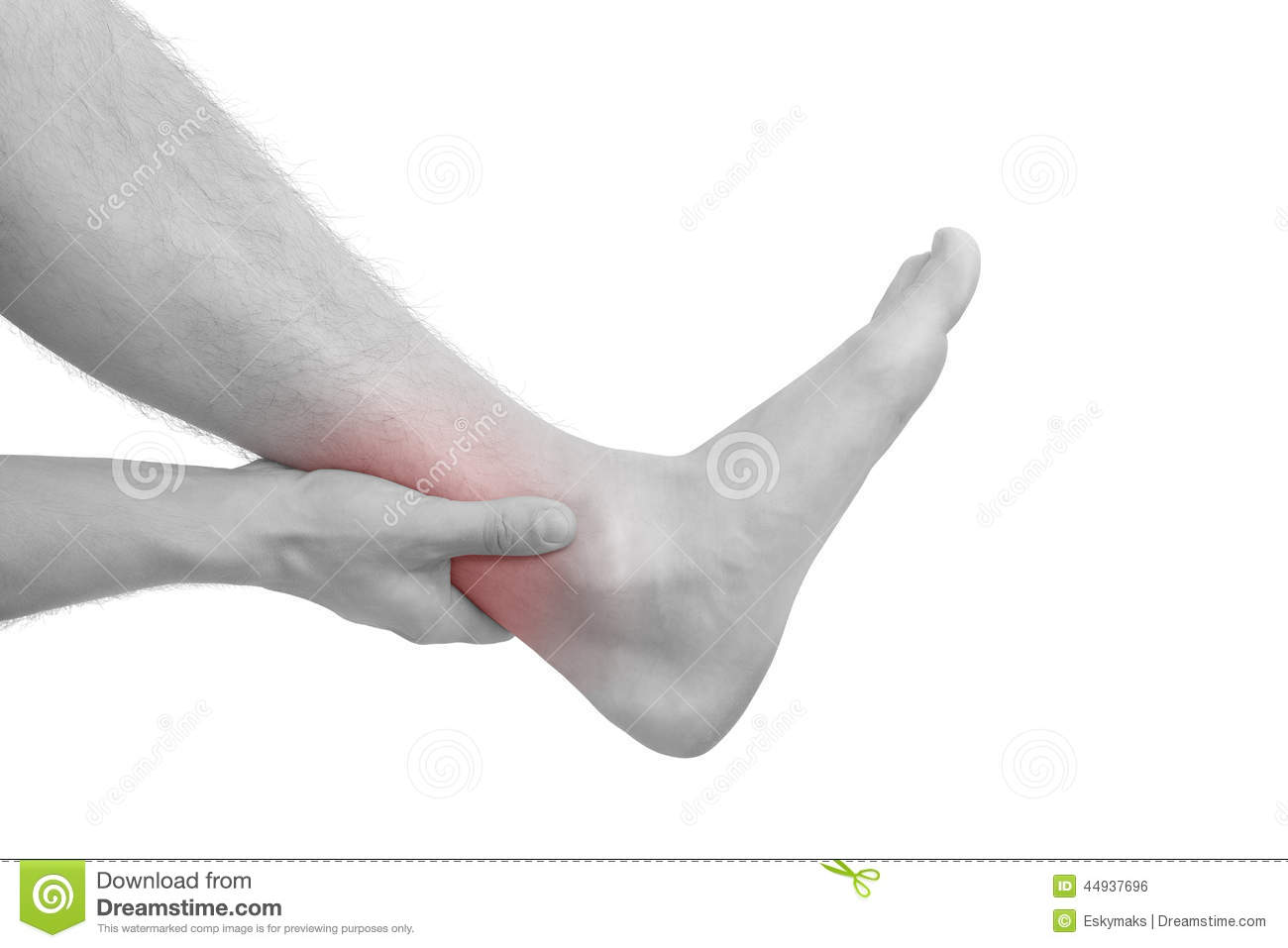 Muscle injuries and muscle strain. Hand touching ankle with ...