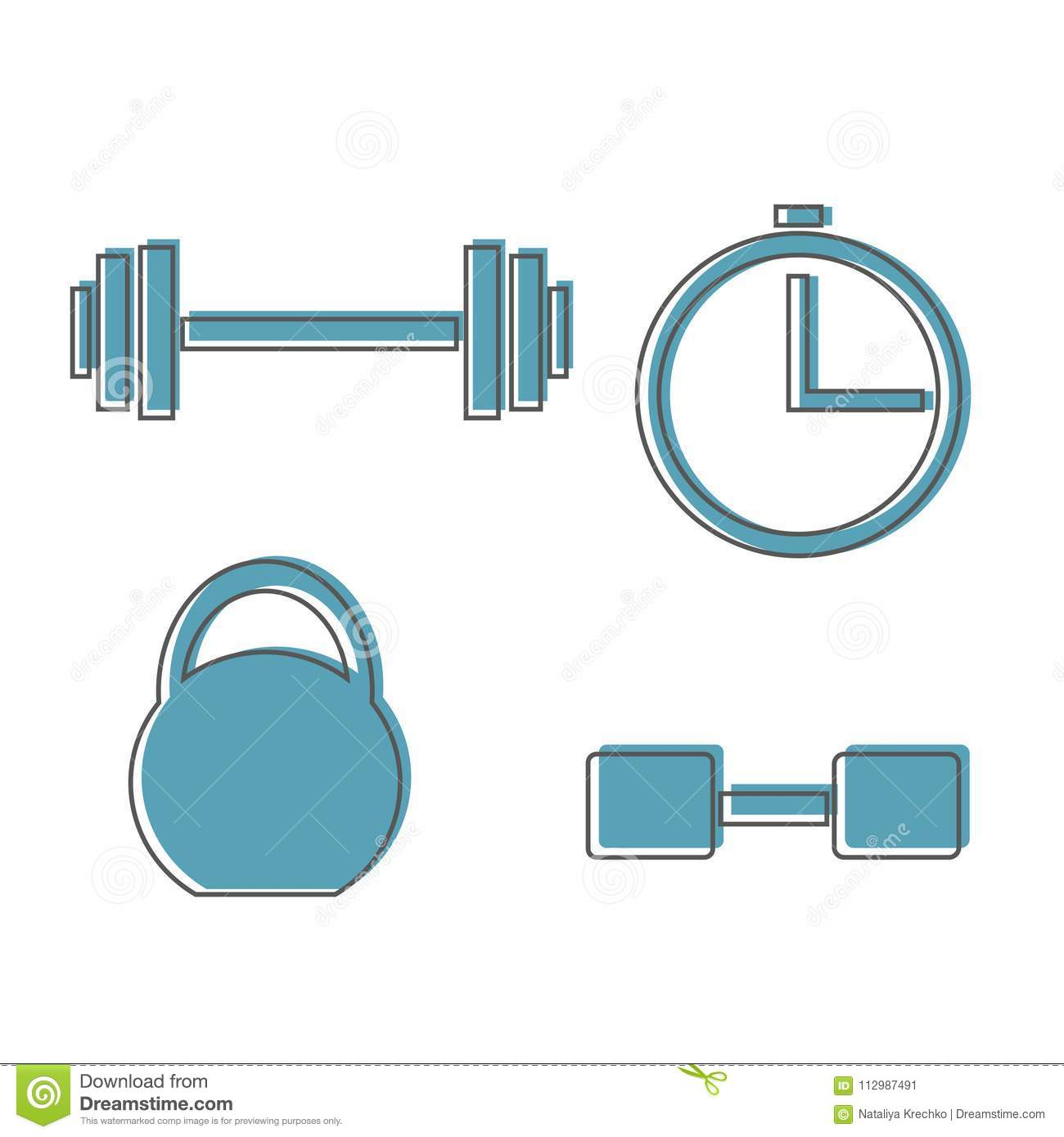 Muscle lifting icon, fitness barbell, gym icon, exercise dumbbells isolated