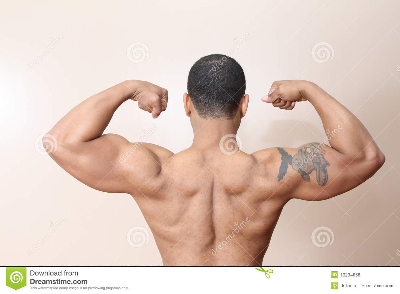 Muscle Man, Both Arms Flexed Stock Photo - Image of biceps, black ...