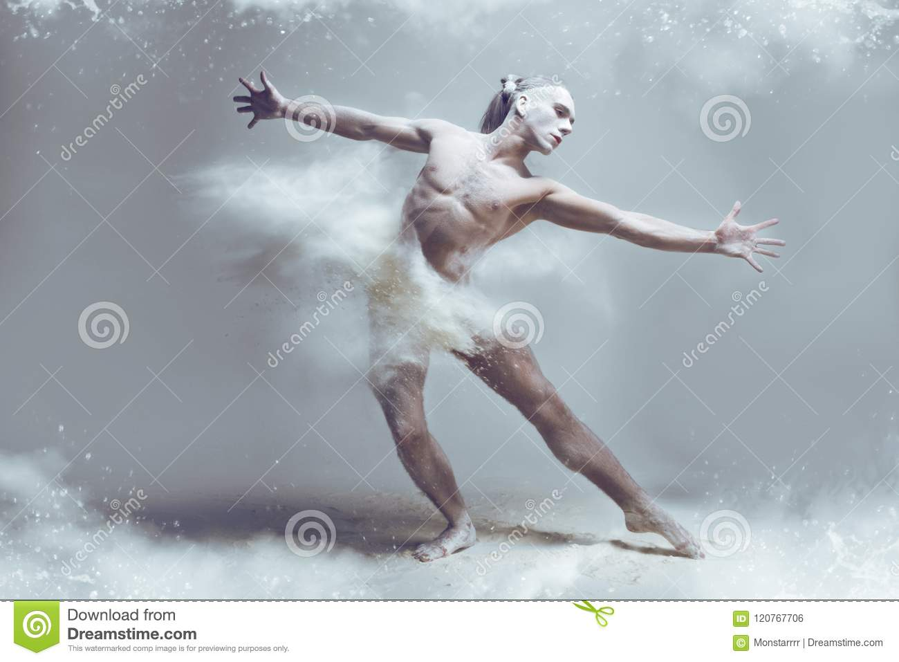 Download Muscle Man Dancer In Dust / Fog Stock Photo - Image of action, ginger: 120767706
