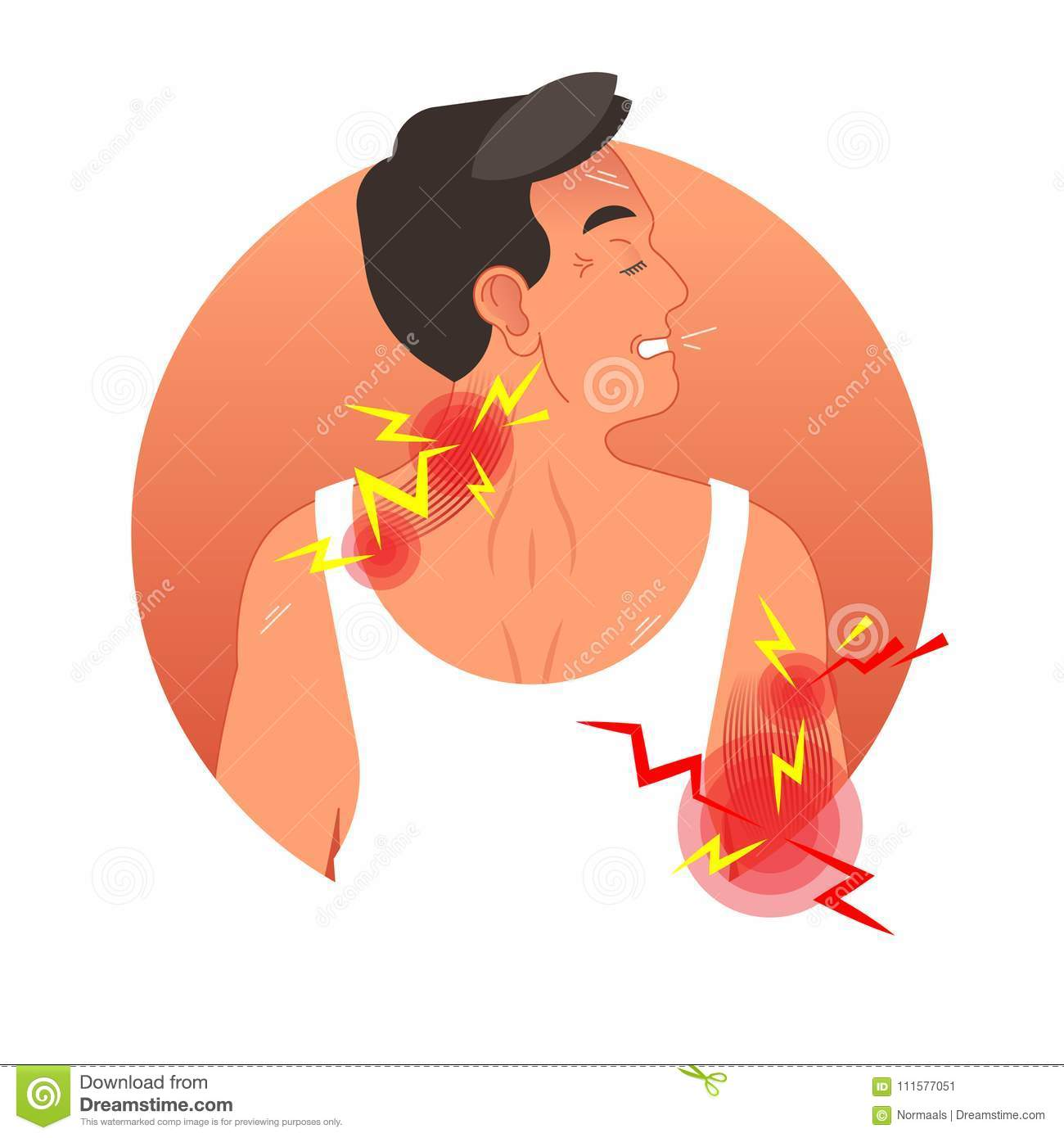 Muscle pain concept vector illustration with human torso. Work safety and sports injury.