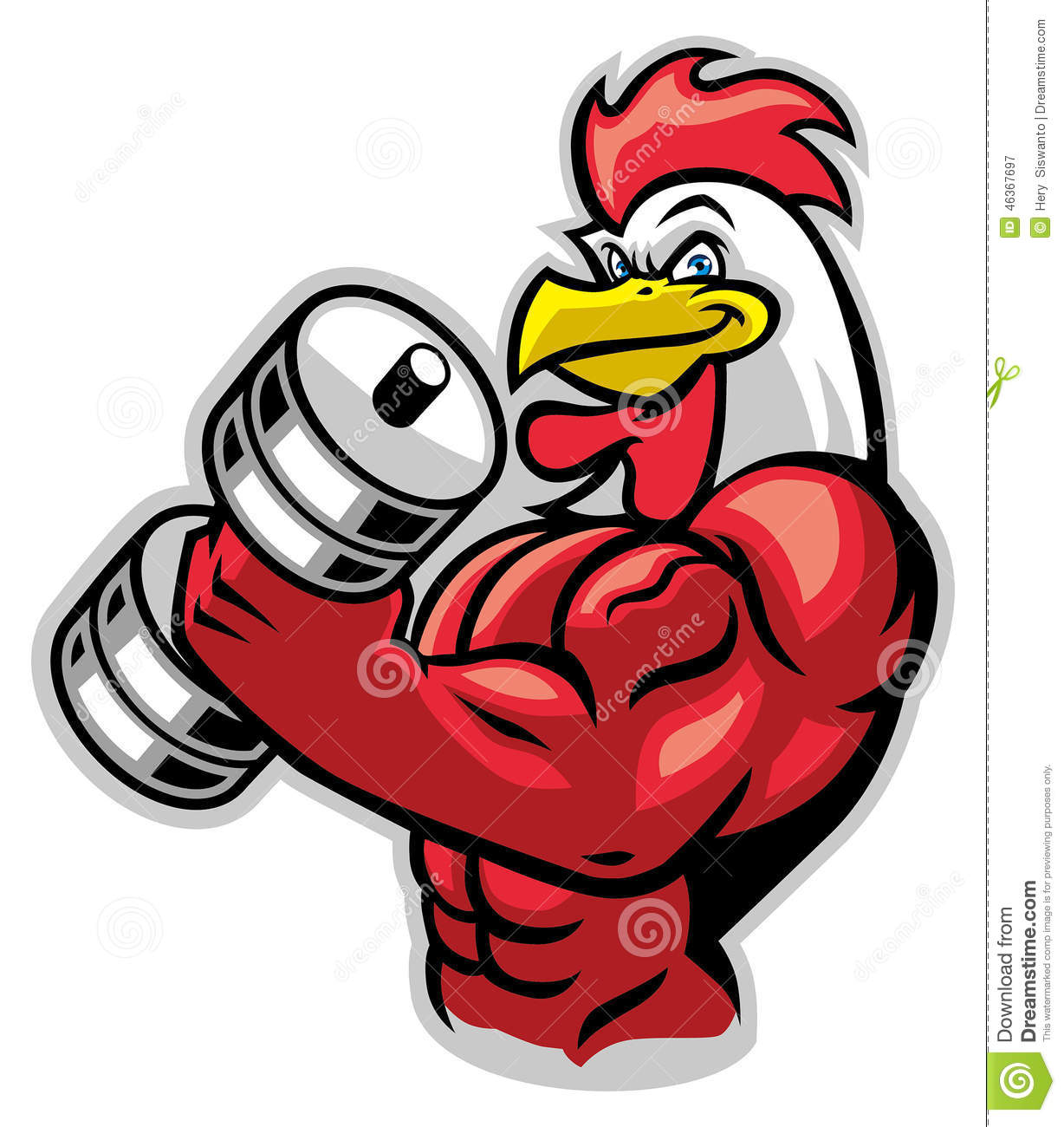 Muscle Rooster Holding The Barbell Stock Vector - Image ...