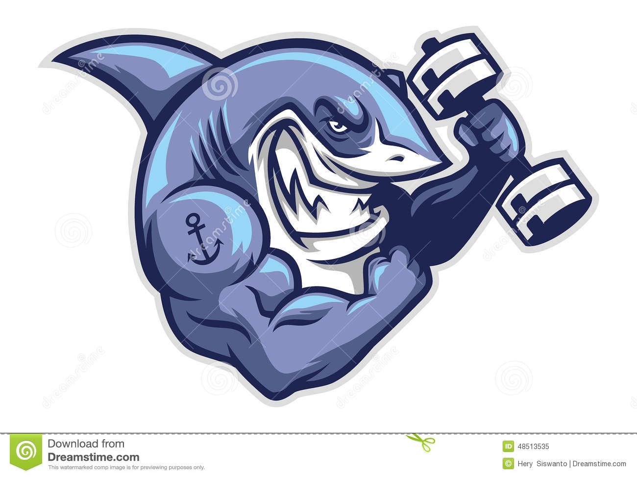 Vector of muscle shark holding the gym barbell.