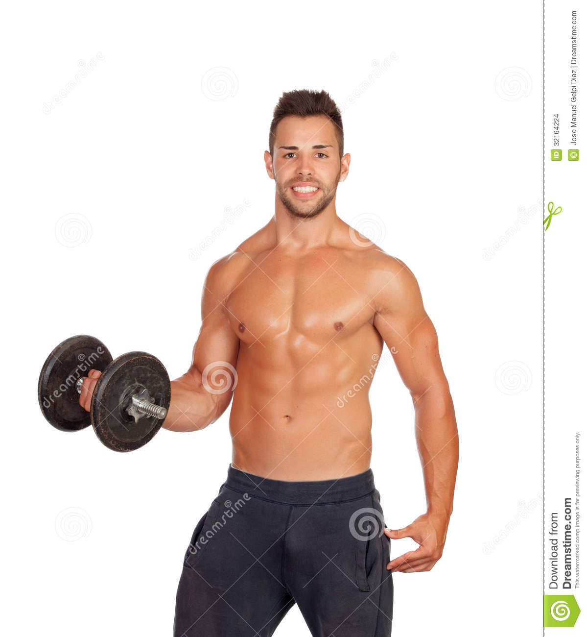 Muscled Guy Lifting Weights Stock Photo - Image: 32164224