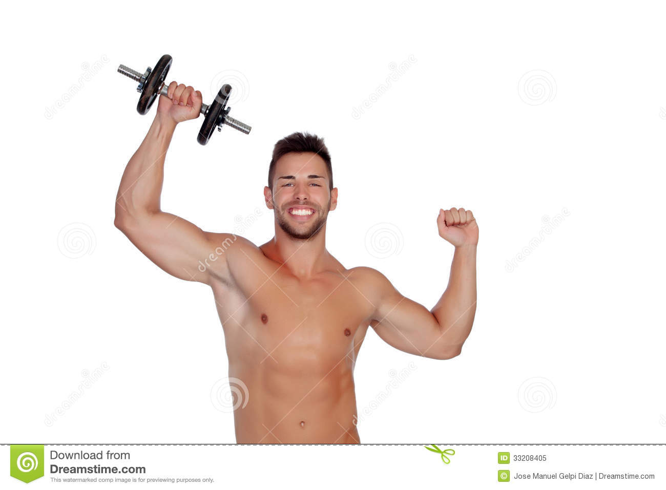 Muscled Guy Lifting Weights Royalty Free Stock Photo ...