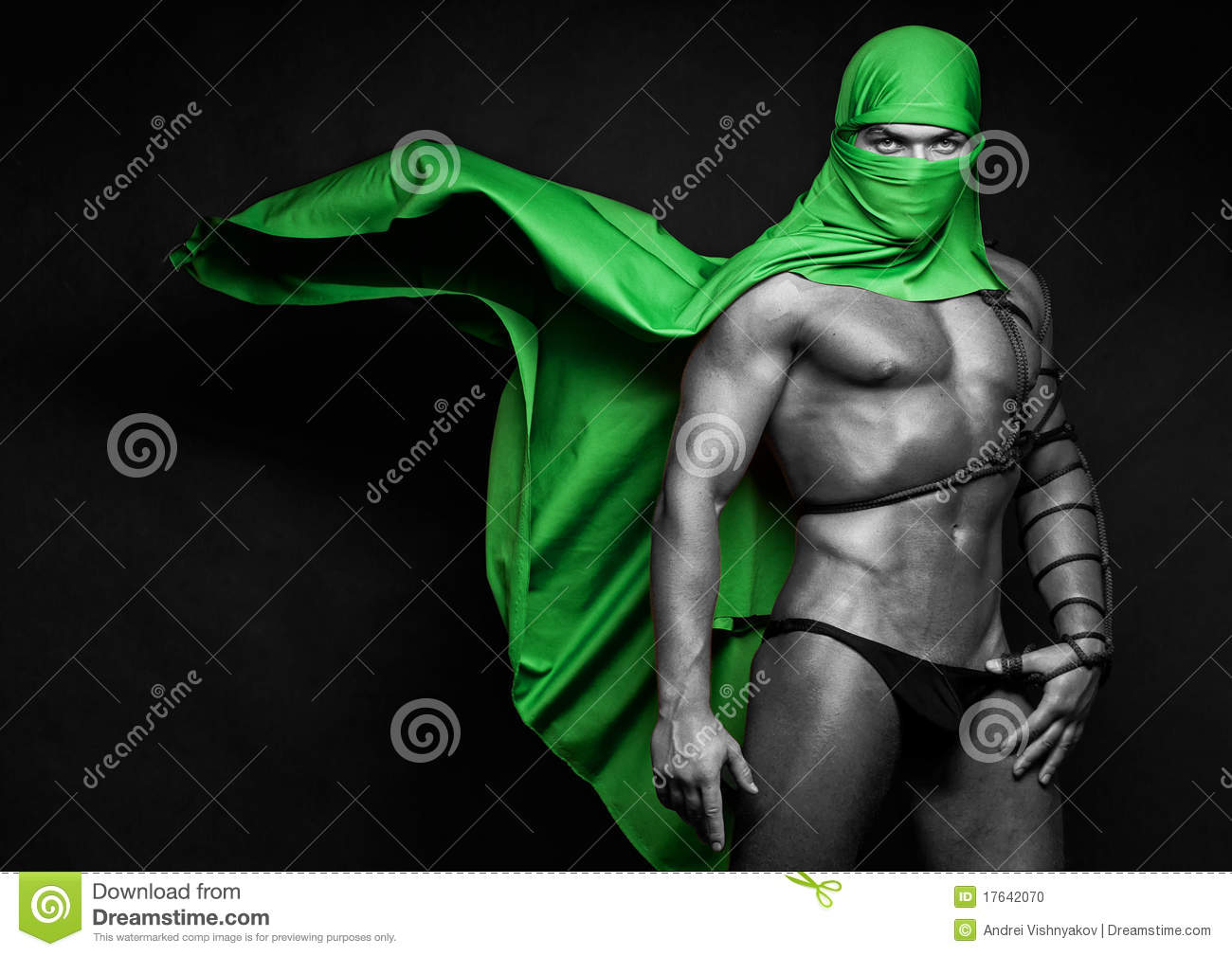Muscled man with cloak