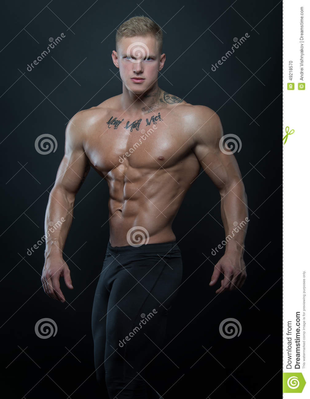 Muscled Model With Ink Stock Photo - Image 49218570-7204