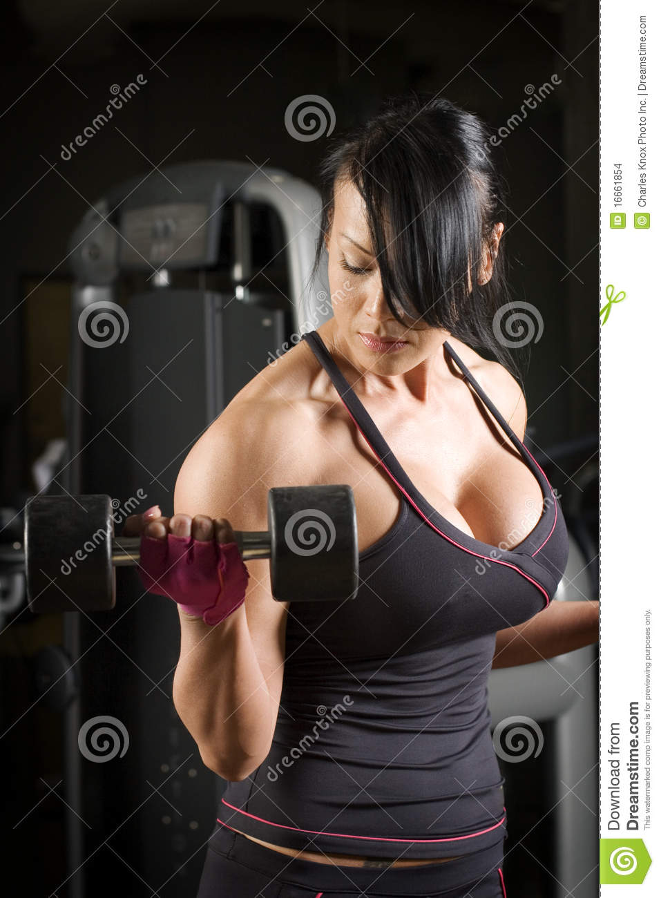 Muscular Asian Woman Working Out With Weights Stock Images -7691