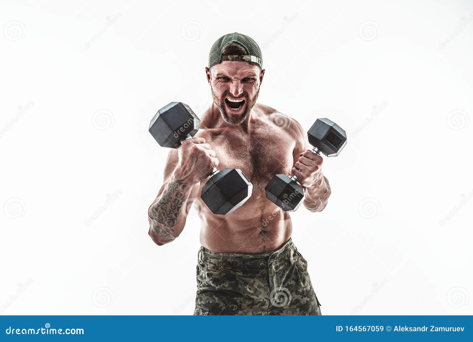 Muscular Athlete Bodybuilder Man Camouflage Pants Stock