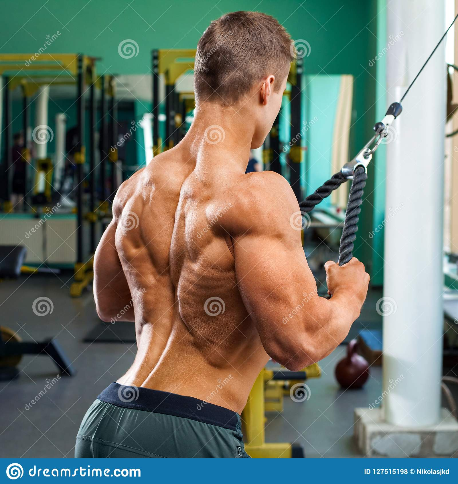 Muscular Back Bodybuilder Man Doing Pullover For Lats In Gym Strong Male Naked Torso Working Out Stock Photo Image Of Bodybuilding Naked 127515198