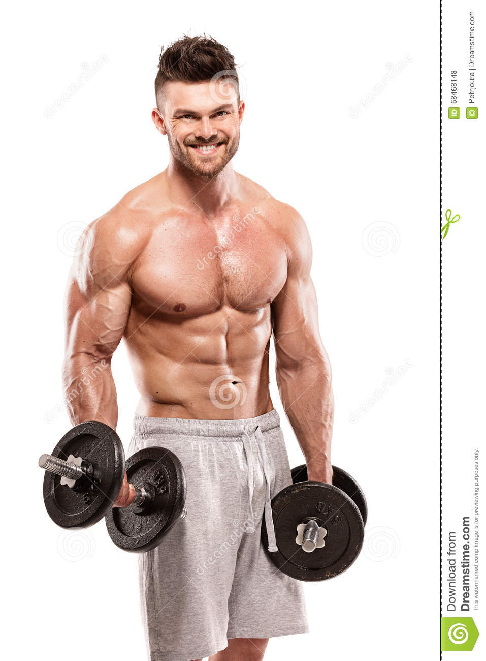 Muscular Bodybuilder Guy Doing Exercises With Big Dumbbell ...